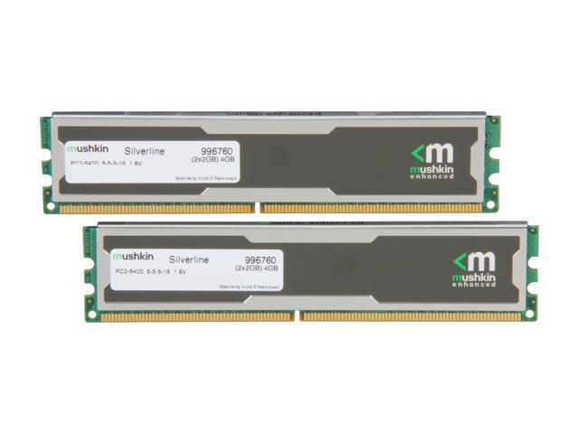 Mushkin Enhanced Silverline 4GB (2 x 2GB) 240-Pin DDR2 SDRAM DDR2 800 (PC2  6400) Desktop Memory Model 996760 - Newegg com