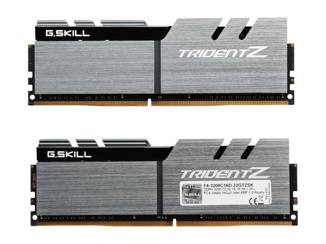 G SKILL TridentZ Series 32GB (2 x 16GB) 288-Pin DDR4 SDRAM DDR4 3200 (PC4  25600) Intel Z370 Platform Desktop Memory Model F4-3200C16D-32GTZSK -