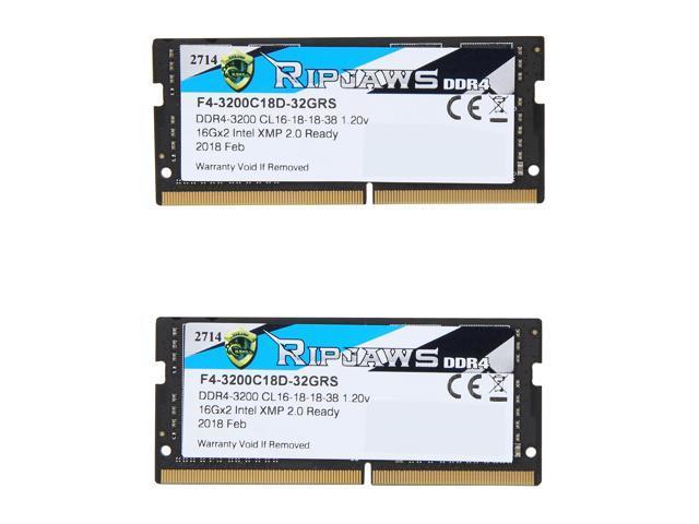 G SKILL Ripjaws SO-DIMM 32GB (2 x 16GB) 260-Pin DDR4 SO-DIMM DDR4 3200 (PC4  25600) Laptop Memory Model F4-3200C18D-32GRS - Newegg com