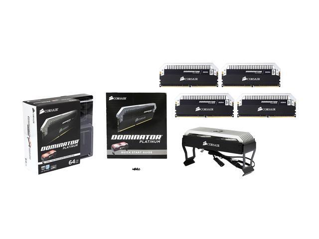 CORSAIR Dominator Platinum 64GB (4 x 16GB) 288-Pin DDR4 SDRAM DDR4 3466  (PC4 27700) Desktop Memory, Airflow Platinum Dominator Fan Included Model