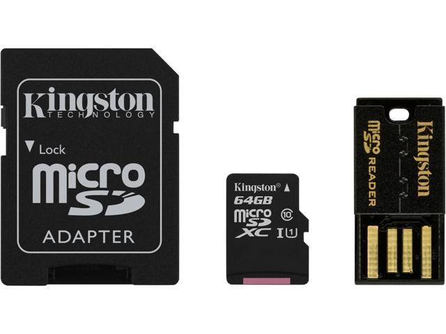 Kingston 64GB Multi-Kit/Mobility Kit microSDXC Class 10 Memory Card with SD Adapter and Reader (MBLY10G2/64GB)