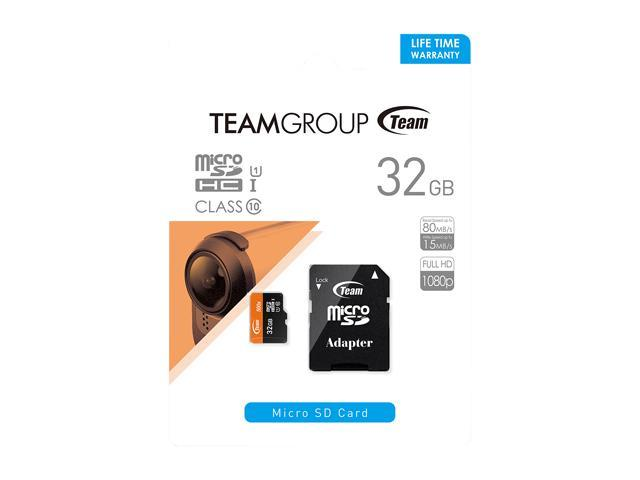 Team 32GB microSDHC UHS-I/U1 Class 10 Memory Card with Adapter, Speed Up to  80MB/s (TUSDH32GUHS03) - Newegg com