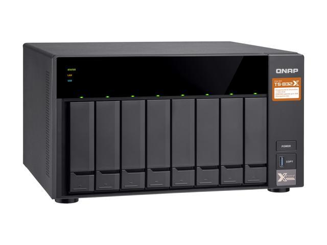 QNAP TS-832X-2G-US High-Performance 8-Bay 64-bit NAS Built-in 2 x 10 GbE  (SFP+) Network, Hardware Encryption, Quad Core 1 7 GHz, 2GB RAM, 2 x 1 GbE  -