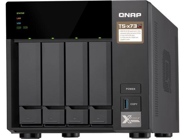 QNAP TS-473-4G-US 4-Bay NAS/iSCSI IP-SAN, AMD R Series Quad-core 2 1GHz,  4GB RAM, 10G-Ready - Newegg com