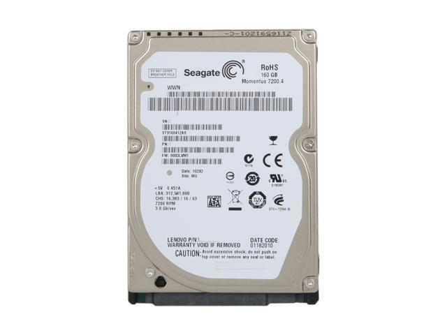 "Seagate Momentus 7200.4 ST9160412AS 160GB 7200 RPM 16MB Cache SATA 3.0Gb/s 2.5"""