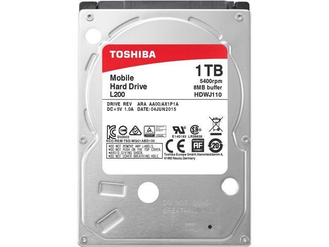Toshiba L200 1TB Laptop PC Internal Hard Drive 5400 RPM SATA 3Gb/s 8MB  Cache 2 5-inch 9 5mm Height - HDWJ110UZSVA (BULK) - Newegg com