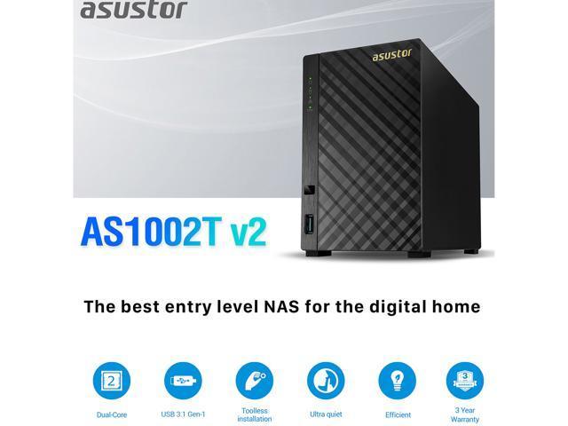 Asustor AS1002T v2, 2-Bay NAS (Diskless), Marvell Armada 1 6 GHz Dual-Core,  Personal Cloud NAS - Newegg com