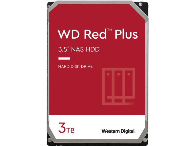 WD Red Plus 3TB NAS Hard Disk Drive - 5400 RPM Class SATA 6Gb/s, CMR, 128MB Cache, 3.5 Inch - WD30EFZX