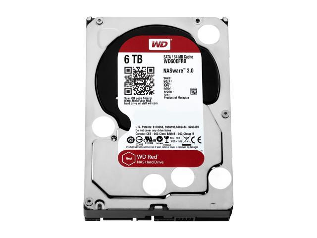 WD Red 6TB NAS Hard Disk Drive - 5400 RPM Class SATA 6Gb/s 64MB Cache 3 5  Inch - WD60EFRX - Newegg com