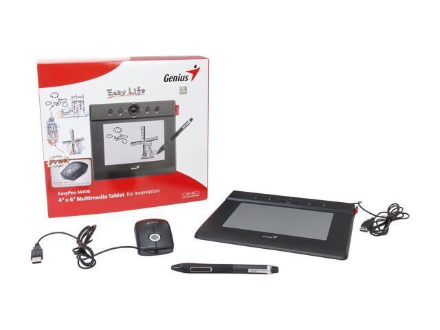 "Genius M406 Easy Pen 4/"" x 6/"" Multimedia Tablet w// Battery-free cordless pen NEW"