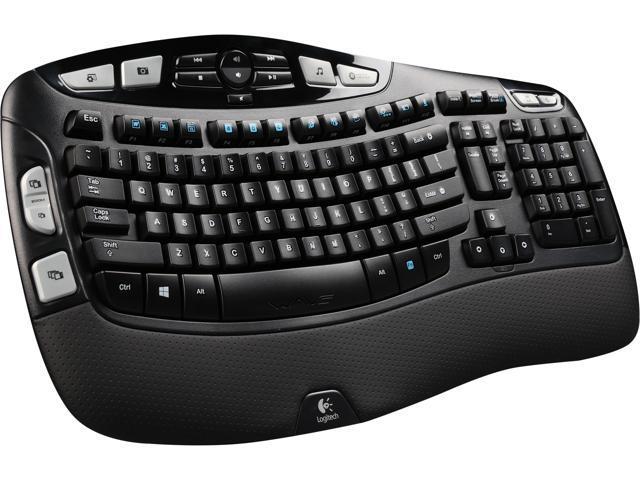 Logitech Recertified 920-001996 K350 Black USB 2 4 GHz Wireless Ergonomic  Keyboard - Newegg com