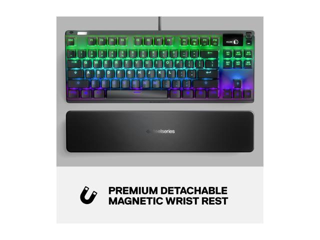 RGB Backlit SteelSeries Apex 7 TKL Compact Mechanical Gaming Keyboard OLED Smart Display Brown Switch Tactile and Quiet USB Passthrough and Media Controls
