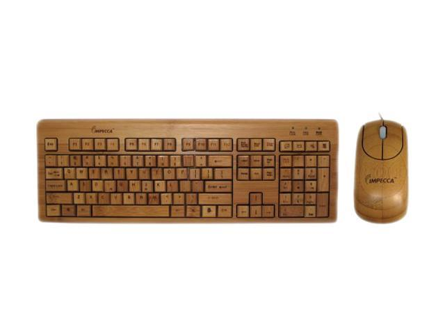 246567470ff Impecca KBB500C USB Wired Standard Bamboo Custom Carved Designer Keyboard  and Mouse Combo