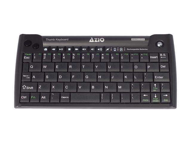 6118646fb91 AZIO Mini Thumb Keyboard w/ Trackball KB178RT Black 63 Normal Keys 8  Function Keys USB RF Wireless Mini Keyboard