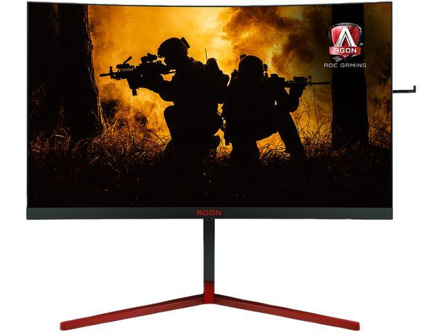 "AOC AGON AG273QCG 27"" Curved Gaming Monitor, QHD 2560x1440, G-SYNC, 165Hz, 1ms, HA stand, DisplayPort/HDMI, USB 3.0 hub, VESA"