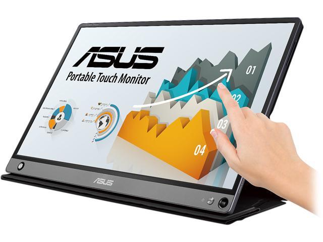 "ASUS ZenScreen MB16AMT 15.6"" Full HD 1920 x 1080 5ms USB Type-C Micro-HDMI Non-Glare HDCP Support Flicker-Free Built-in Speakers Low Blue Light Touchscreen Portable IPS Monitor"