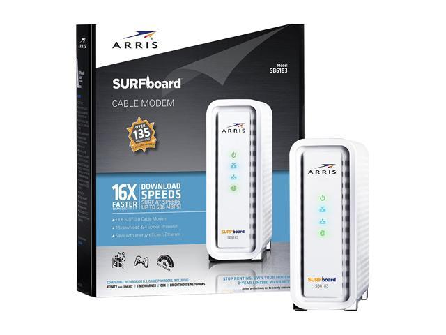 ARRIS SURFboard SB6183 DOCSIS 3 0 Cable Modem - 600 MHz Dual-Thread  Processor - Certified Refurbished - Newegg com
