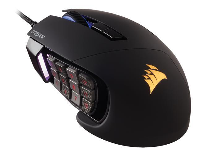 Corsair Gaming Scimitar Pro Rgb Gaming Mouse Backlit Rgb Led 16000 Dpi Black Side Panel Optical Newegg Com