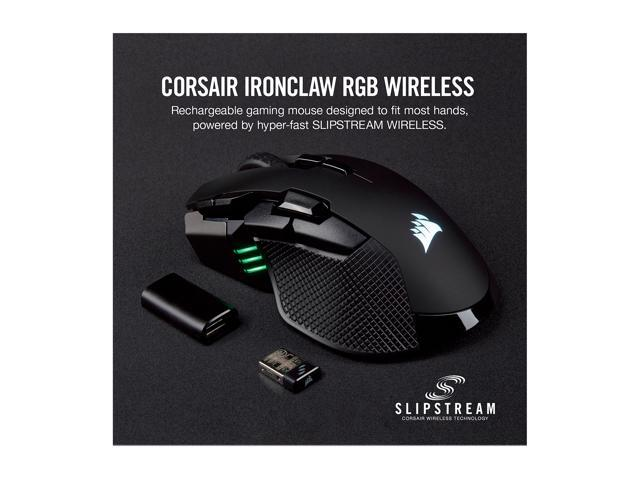 CORSAIR IRONCLAW RGB Wireless Rechargeable Gaming Mouse with SLIPSTREAM  WIRELESS Technology, Black, Backlit RGB LED, 18000 dpi, Optical - Newegg com