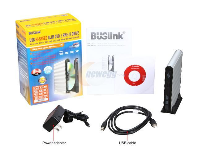 Buslink DVDRW DL 8X USB 2.0 SILVER SLIM W// CABLE BLANK MEDIA Enternal Slimline Drive # D-DW82-U2