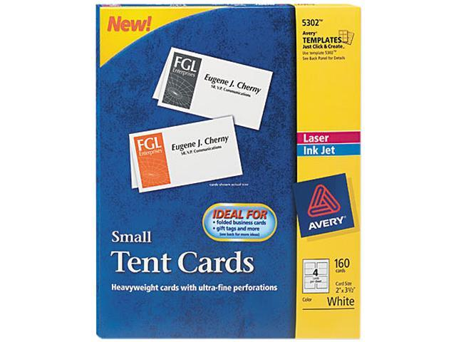 avery 5302 tent cards white 2 x 3 1 2 4 cards sheet 160 cards