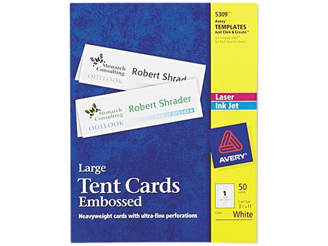 Avery Large Tent Cards Uncoated Embossed Two Sided Printing 3 5 X 11 50 Cards 5309