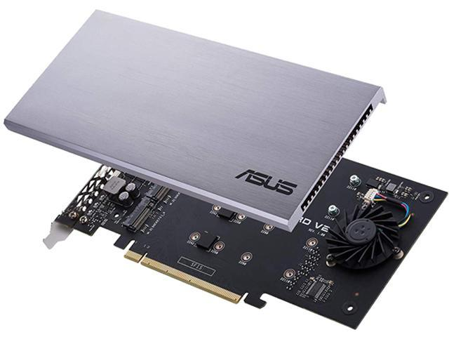 ASUS Hyper M 2 x16 PCIe 3 0 x4 Expansion Card V2 Supports 4 x NVMe M 2  (2242/2260/2280/22110) Up to 128 Gbps for Intel VROC and AMD Ryzen  Threadripper