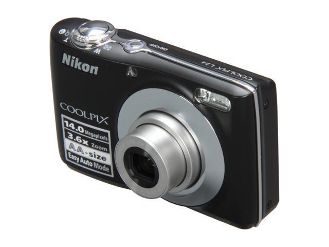 Nikon COOLPIX L24 Black 14 0 MP 3 6X Optical Zoom Digital Camera -  Newegg com