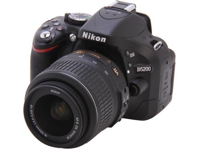 Nikon D5200 1503 Black Digital Slr Camera With 18 55mm Vr Lens Kit Newegg Com