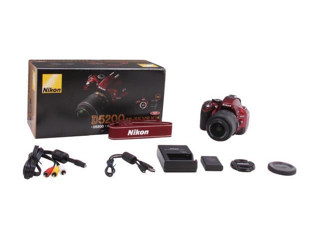 Nikon D5200 1507 Red Digital SLR Camera with 18-55mm VR Lens Kit -  Newegg com
