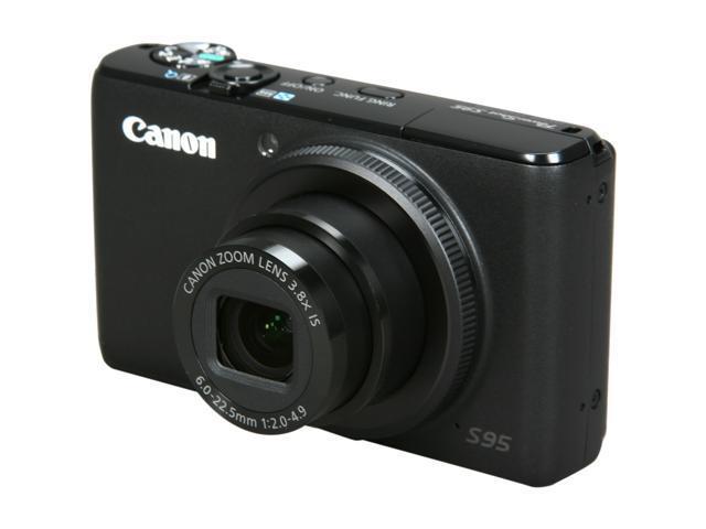 Canon Powershot S95 Black 10 0 Mp 3 0 461k Lcd 3 8x Optical Zoom 28mm Wide Angle Digital Camera Newegg Com