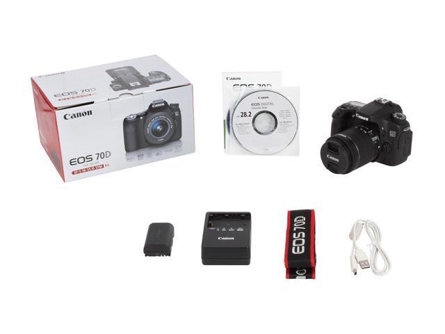 Canon EOS 70D 8469B009 Digital SLR Cameras Black with 18 - 55mm STM  f/3 5-5 6 Lens - Newegg com