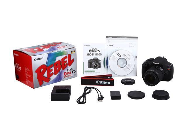 Canon Rebel T5 9126B003 Black Digital SLR Camera w/ EF-S 18-55mm IS II Lens  - Newegg com