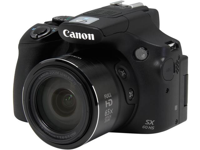 Canon Powershot Sx60 Hs Black 16 1 Mp 65x Optical Zoom Wide Angle Digital Camera Hdtv Output Point Shoot Cameras Newegg Ca