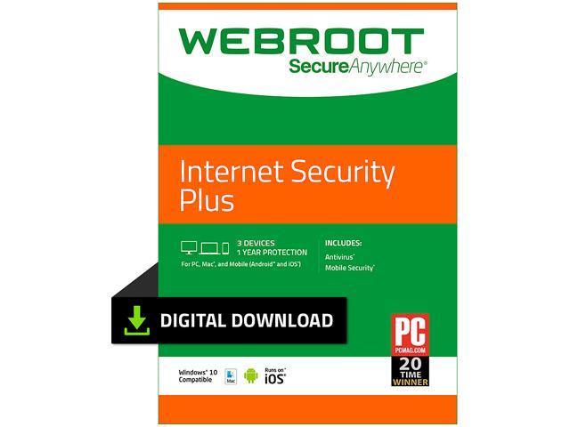 Webroot Internet Security Plus + Antivirus - 3 Devices 1 Year Subscription  - Download - Newegg com