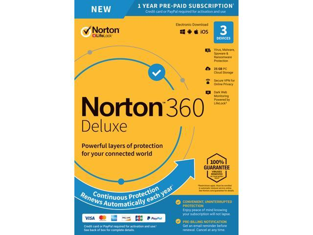 Norton 360 Deluxe [Online Protection, VPN, 25GB Cloud Backup & Dark Web  Monitor] 3 Devices - 1 Year - Key Card - Newegg com
