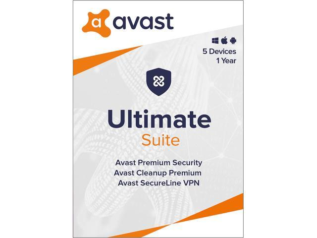 Avast Ultimate Suite [Security, Cleanup and VPN] 2021, 5 Devices 1 Year - Download