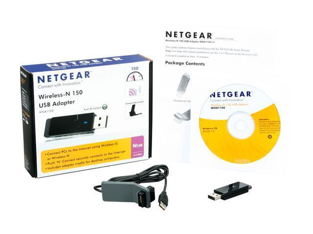 NETGEAR WNA1100-100ENS N150 Wireless Adapter IEEE 802 11b/g/n USB 2 0 Up to  150Mbps Wireless Data Rates - Newegg com