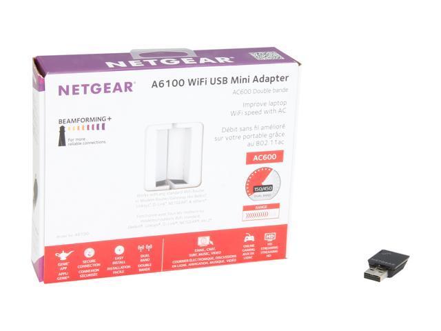 NETGEAR A6100-100PAS USB 2 0 AC600 Dual Band Wi-Fi Mini Adapter - Newegg com