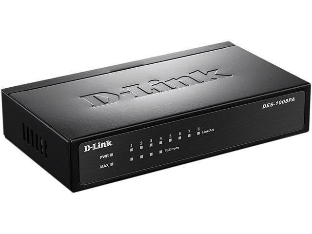 D Link DES 1008PA 8 Port 10 100 Unmanaged Metal Desktop Switch With