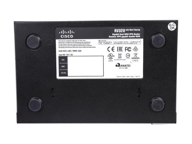 Cisco RV320 Dual WAN VPN Router - 6 Ports - SlotsGigabit Ethernet - Desktop  - Newegg com