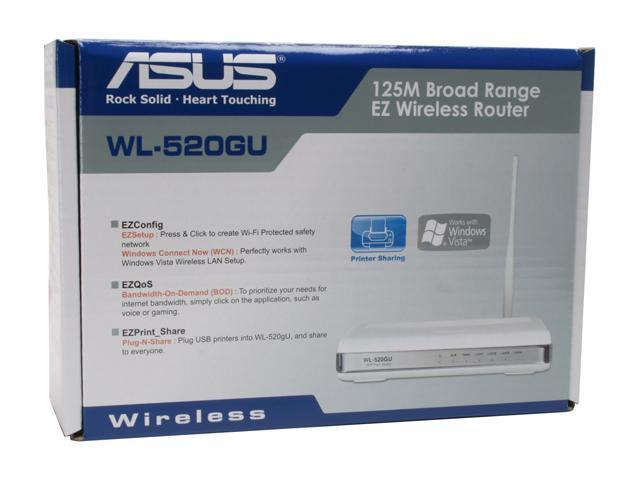 ASUS WL-520gU 802 11b/g Wireless Router with All-in-One Print Server / Open  Source DD-WRT - Newegg com