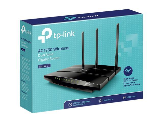 TP-LINK Archer C7 Wireless AC1750 Dual Band Gigabit Router, 450 Mbps on 2 4  GHz + 1300 Mbps on 5 GHz, 2 USB Ports, IPv6, Guest Network - Newegg com