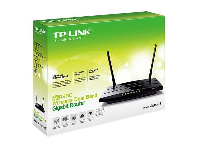 TP-LINK Archer C5 AC1200 Dual Band Wireless AC Gigabit Router, 2 4 GHz 300  Mbps+5 GHz 867 Mbps, 2 USB Ports, IPv6, Guest Network - Newegg com