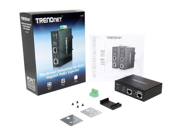 TRENDnet TI-IG60 Hardened Industrial 60 Watt Gigabit PoE+ Injector -  Newegg com