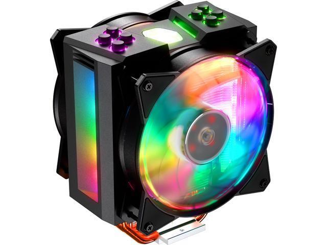Cooler Master MA410M Addressable RGB CPU Air Cooler, 4 CDC Heatpipes, Dual  120mm Addressable RGB MasterFan - Newegg com