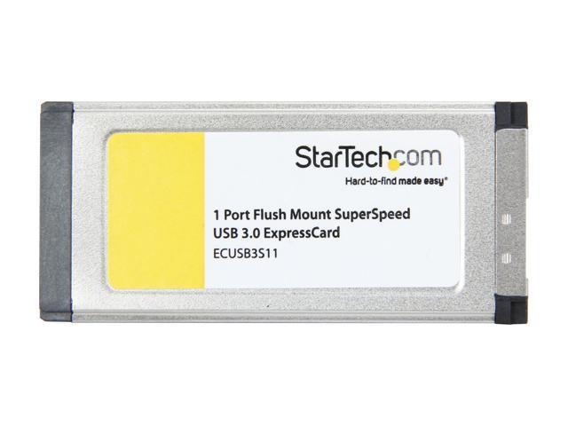 ECUSB3S11 ExpressCard USB 3.0 Adapter StarTech.com 1 Port Flush Mount ExpressCard SuperSpeed USB 3.0 Card Adapter with UASP Support