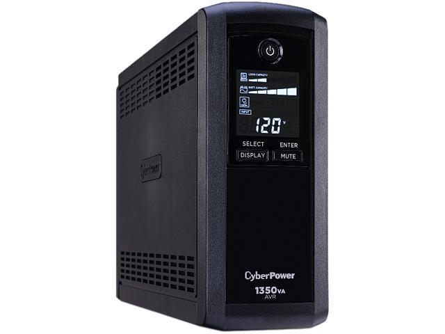 CyberPower Intelligent LCD UPS CP1350AVRLCD 1350 VA 815 Watts 10 Outlets  UPS - Newegg com
