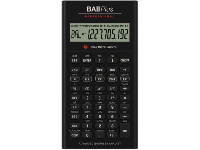 """Image of Texas Instruments BAII Plus Professional Calculator - 10 Digit(s) - Battery Powered - 1.3"""" x 6.9"""" - 1 Each"""