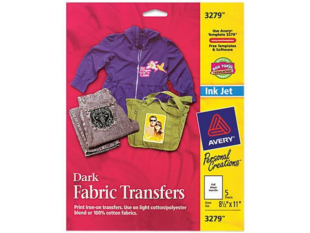 5a84e2b27 Avery AVE3279 Dark Fabric Transfers for Inkjet Printers, 8 1/2 x 11, White,  5/Pack
